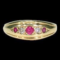 Antique Edwardian Ruby Diamond Band Ring 18k Gold Stacking