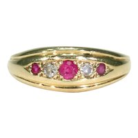 Antique Edwardian Ruby Diamond Band Ring 18k Gold Stacking