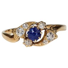 Antique Art Nouveau Sapphire Diamond Twist Ring 18k Gold