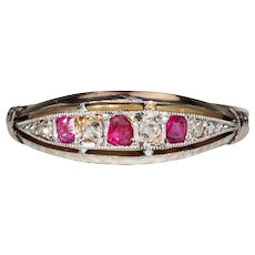 Antique French Ruby Diamond Ring 18k Gold Platinum