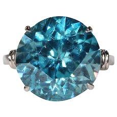 Vintage Art Deco Blue Zircon Ring Solitaire