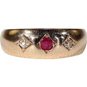 Antique Victorian 3 Stone Ruby Diamond Ring in 15k Gold Hallmarked 1892