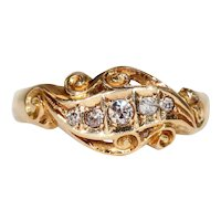 Edwardian Scrolling 5 Diamond Ring 1916
