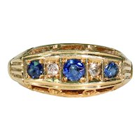 Antique Edwardian 5 Stone Sapphire Diamond Ring 18K, Hallmarked