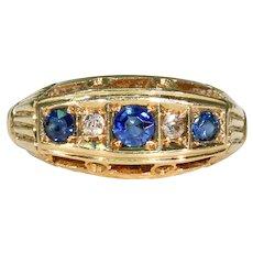 Antique Edwardian 5 Stone Sapphire Diamond Ring 18K, Hallmarked