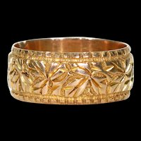 Victorian Leaves 9k Gold Wedding Band Ring Sz 6