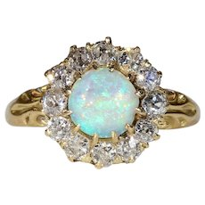 Antique Victorian Diamond and Opal Cluster Ring in 18k Gold