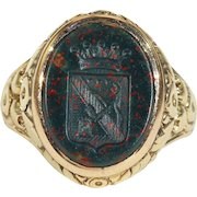 Antique Victorian Bloodstone Ring, Intaglio Seal in 18k Gold