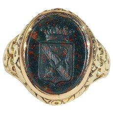 Antique Victorian Bloodstone Ring, Intaglio Seal in 18k Gold