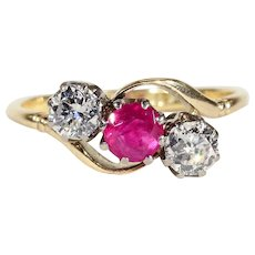 Antique Ruby and Diamond 3 Stone Bypass Ring in 18k Gold and Platinum