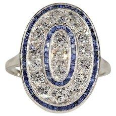 Edwardian Diamond Sapphire Target Ring 1.2 cttw