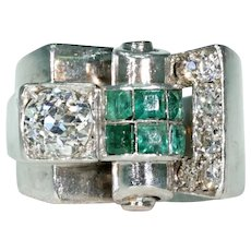 Vintage Art Deco Diamond Emerald Cocktail Ring 18k White Gold