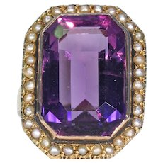 Large Victorian Amethyst Pearl Ring