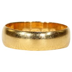Antique 22k Gold Wedding Band Ring '1907'