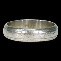 Wonderful Art Deco Engraved Platinum Wedding Band Sz 7 4.7mm