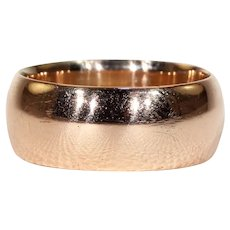 Edwardian 9k Rose Gold Wide Wedding Band Ring