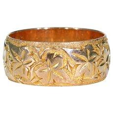 Antique Ivy Leaf Motif Engraved Gold Band 9k