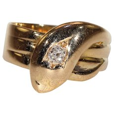 Antique Gold Diamond Snake Ring