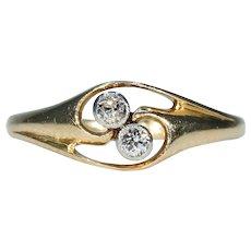 Antique Diamond Bypass Toi et Moi Ring 18k Gold
