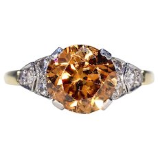 Art Deco Brown Zircon Diamond Ring 18k Platinum
