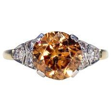 Art Deco Brown Zircon Diamond Ring 18k Platinum
