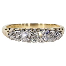 Antique 5 Stone Diamond Ring Stacking Band