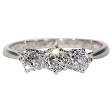 Vintage 3 Diamond Ring Platinum 18k Gold