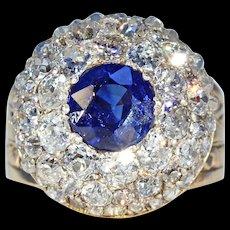 Victorian Sapphire Diamond Cluster Ring ~ Fabulous!
