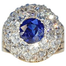 Victorian Sapphire Diamond Cluster Ring ~ Fabulous!