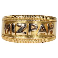 Antique Victorian MIZPAH Band Ring 18k Gold