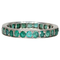 Vintage Emerald Eternity Band Ring in 18k White Gold Sz 6.75