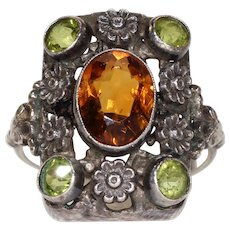 Antique Arts & Crafts English Citrine Peridot Silver Ring