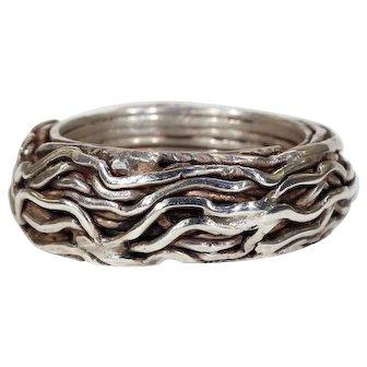 Vintage Modernist Silver Wirework Ring