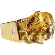Modernist Citrine Sapphire Diamond Gold Ring