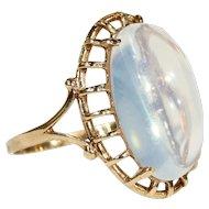 Art Deco Large Moonstone Gold Ring