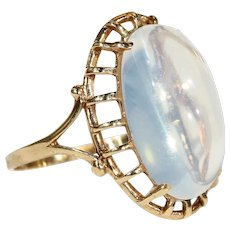 Art Deco Large Moonstone Gold Ring