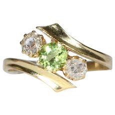Antique Peridot Diamond Bypass Ring Gold