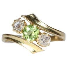 Antique Peridot Diamond Bypass Ring Gold