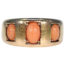 Victorian 3 Stone Orange Coral Ring 15k Gold