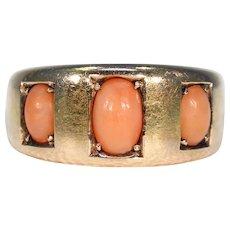 Victorian 3 Stone Orange Coral Ring 15k Gold