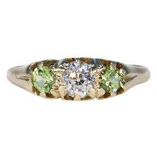 Victorian Diamond Peridot 3 Stone Ring