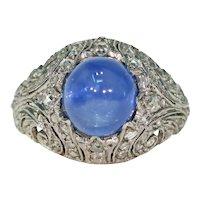 Stunning Natural Ceylon Sapphire Diamond Dome Ring Art Deco