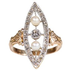 Antique French Diamond Pearl Navette Ring