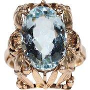 Retro Era Aquamarine Gold Ring