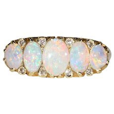 Antique Edwardian Opal Diamond Gold Ring 5 Stone