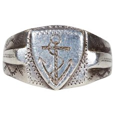 Victorian Silver Engraved Anchor Ring