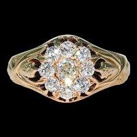 Mens Victorian Rose Gold Diamond Cluster Ring Russian Hallmarks