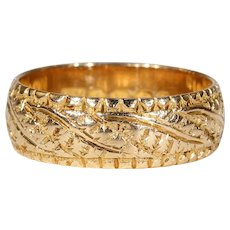 Victorian Engraved Gold Band Antique 1887