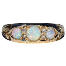 Victorian Gold Diamond Opal Ring