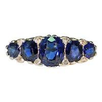 Late Victorian 5 Sapphire Diamond Ring 18k Gold